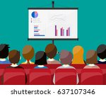 projector screen with financial ... | Shutterstock . vector #637107346