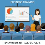 businesswoman making... | Shutterstock . vector #637107376