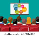 projector screen with financial ... | Shutterstock . vector #637107382