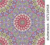 colorful ethnic patterned... | Shutterstock . vector #637110418