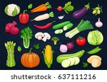 vector vegetables icons set in... | Shutterstock .eps vector #637111216