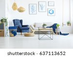 white living room wih navy blue ... | Shutterstock . vector #637113652