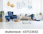 white living room wih navy blue ... | Shutterstock . vector #637113652