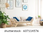 white living room with swing... | Shutterstock . vector #637114576