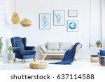 white and blue living room with ... | Shutterstock . vector #637114588
