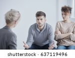 angry young man and his sad... | Shutterstock . vector #637119496