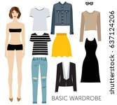 cut girl with set of basic... | Shutterstock .eps vector #637124206