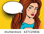 wow pop art female face. sexy... | Shutterstock .eps vector #637124836