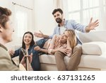 diverse people partying... | Shutterstock . vector #637131265