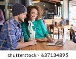 happy friends using laptop... | Shutterstock . vector #637134895