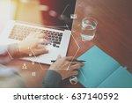 top view of  businessman hand... | Shutterstock . vector #637140592