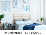 white bedroom with wood bed ... | Shutterstock . vector #637142932