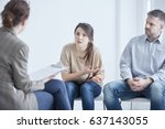 worried troubled couple on... | Shutterstock . vector #637143055