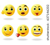 cute smiley faces isolated on... | Shutterstock .eps vector #637146202