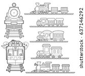 set of train cartoon   train... | Shutterstock .eps vector #637146292
