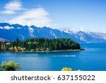 lake wakatipu  new zealand in... | Shutterstock . vector #637155022