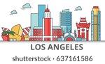 los angeles city skyline ...   Shutterstock .eps vector #637161586