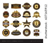vintage golden symbol and... | Shutterstock .eps vector #637165912