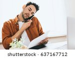 freelancer communicate sales... | Shutterstock . vector #637167712