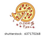 cute pizza . vector... | Shutterstock .eps vector #637170268
