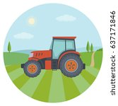 red tractor on the farm field.... | Shutterstock .eps vector #637171846