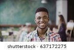 handsome african man at busy... | Shutterstock . vector #637172275