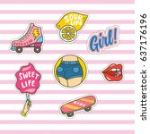 Set Of Cute Fashion Patches On...