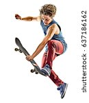 one caucasian skateboarder...   Shutterstock . vector #637186162