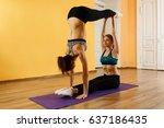 two young sportswomen doing...   Shutterstock . vector #637186435