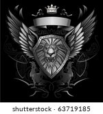 roaring lion winged shield... | Shutterstock .eps vector #63719185