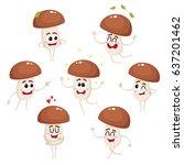 set of funny porcini mushroom...   Shutterstock .eps vector #637201462