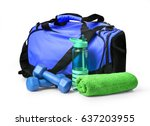 sports bag with sports...   Shutterstock . vector #637203955