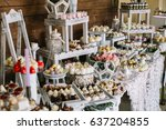 candy bar with sweets on little ... | Shutterstock . vector #637204855