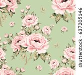 seamless pattern of bouquets of ... | Shutterstock . vector #637205146
