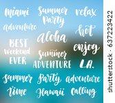summer cute hand written brush... | Shutterstock .eps vector #637223422