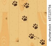vector paw tracks on wooden... | Shutterstock .eps vector #637225756