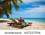 two beach chairs on tropical... | Shutterstock . vector #637227556