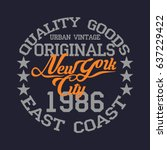 new york typography  t shirt... | Shutterstock . vector #637229422