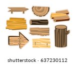 set of wooden sign boards ... | Shutterstock .eps vector #637230112