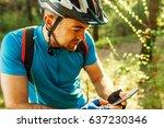 beautiful shot of cyclist on... | Shutterstock . vector #637230346