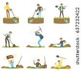 treasure hunter  archaeologist  ... | Shutterstock .eps vector #637232422