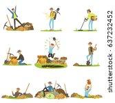 treasure hunting  people in...   Shutterstock .eps vector #637232452