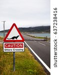 an otter crossing sign on the... | Shutterstock . vector #637238416