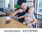 father feeding food  bakery  to ... | Shutterstock . vector #637239982