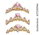 vintage jewelry diadem set.... | Shutterstock .eps vector #637240966