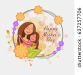 smiling mother and daughter... | Shutterstock .eps vector #637257706