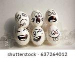 eggs face. cheerful breakfast... | Shutterstock . vector #637264012