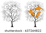black silhouette of a tree on a ... | Shutterstock .eps vector #637264822