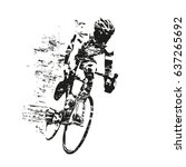 cycling theme  scratched vector ... | Shutterstock .eps vector #637265692