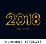 golden glow 2018 new year... | Shutterstock .eps vector #637281265